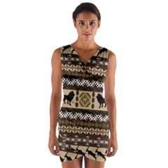 Lion African Vector Pattern Wrap Front Bodycon Dress