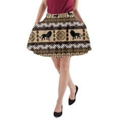 Lion African Vector Pattern A-Line Pocket Skirt