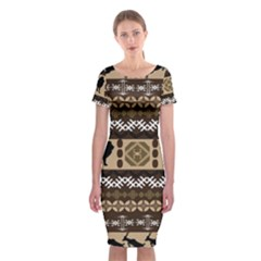 Lion African Vector Pattern Classic Short Sleeve Midi Dress