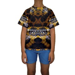 Textures Snake Skin Patterns Kids  Short Sleeve Swimwear