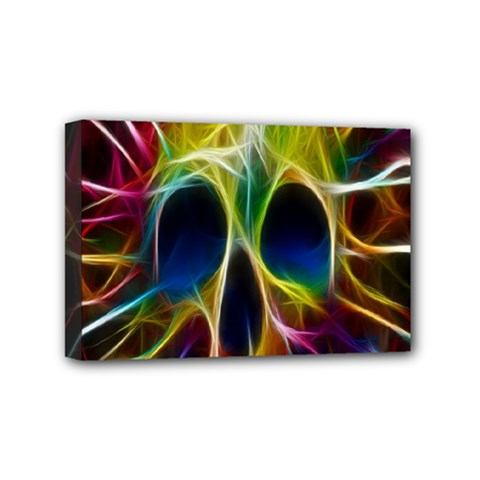 Skulls Multicolor Fractalius Colors Colorful Mini Canvas 6  x 4