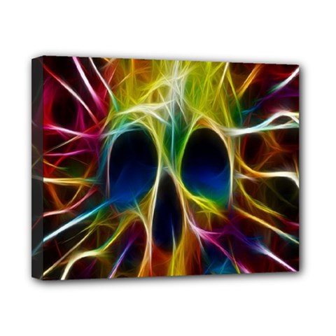 Skulls Multicolor Fractalius Colors Colorful Canvas 10  x 8
