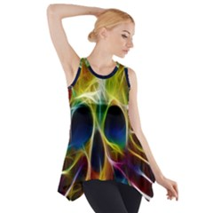 Skulls Multicolor Fractalius Colors Colorful Side Drop Tank Tunic