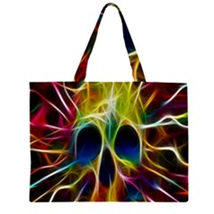 Skulls Multicolor Fractalius Colors Colorful Large Tote Bag