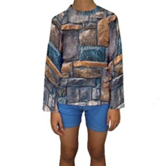 Brick Wall Pattern Kids  Long Sleeve Swimwear