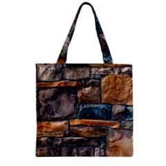 Brick Wall Pattern Zipper Grocery Tote Bag