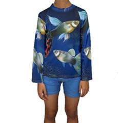 Marine Fishes Kids  Long Sleeve Swimwear