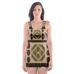 Giraffe African Vector Pattern Skater Dress Swimsuit