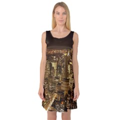 New York City At Night Future City Night Sleeveless Satin Nightdress