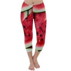 Fresh Watermelon Slices Texture Capri Winter Leggings