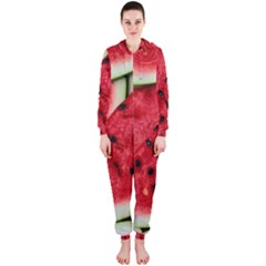 Fresh Watermelon Slices Texture Hooded Jumpsuit (Ladies)