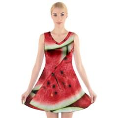 Fresh Watermelon Slices Texture V-Neck Sleeveless Skater Dress