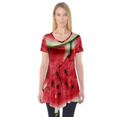 Fresh Watermelon Slices Texture Short Sleeve Tunic