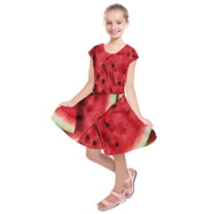 Fresh Watermelon Slices Texture Kids  Short Sleeve Dress