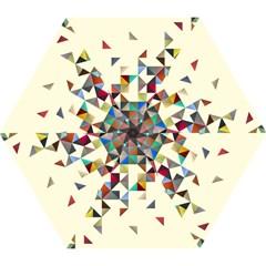 Retro Pattern Of Geometric Shapes Mini Folding Umbrellas