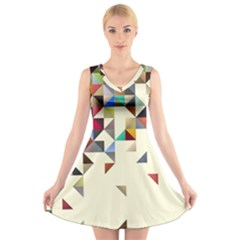 Retro Pattern Of Geometric Shapes V-Neck Sleeveless Skater Dress