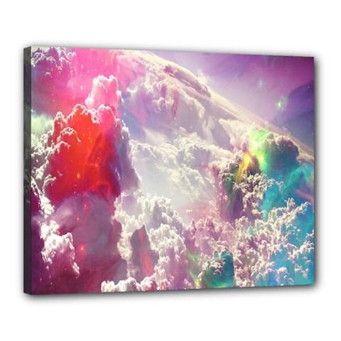 Clouds Multicolor Fantasy Art Skies Canvas 20  x 16