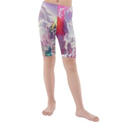 Clouds Multicolor Fantasy Art Skies Kids  Mid Length Swim Shorts