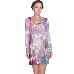 Clouds Multicolor Fantasy Art Skies Long Sleeve Nightdress