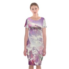 Clouds Multicolor Fantasy Art Skies Classic Short Sleeve Midi Dress