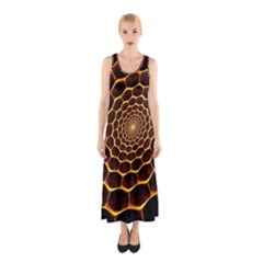 Honeycomb Art Sleeveless Maxi Dress