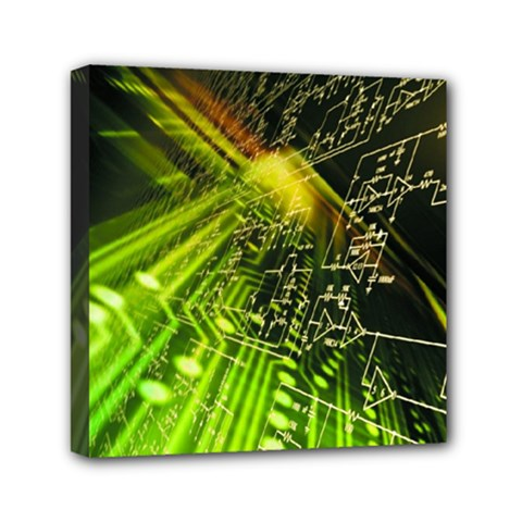 Electronics Machine Technology Circuit Electronic Computer Technics Detail Psychedelic Abstract Pattern Mini Canvas 6  x 6