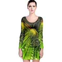Electronics Machine Technology Circuit Electronic Computer Technics Detail Psychedelic Abstract Pattern Long Sleeve Bodycon Dress
