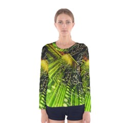 Electronics Machine Technology Circuit Electronic Computer Technics Detail Psychedelic Abstract Pattern Women s Long Sleeve Tee
