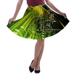 Electronics Machine Technology Circuit Electronic Computer Technics Detail Psychedelic Abstract Pattern A-line Skater Skirt