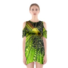 Electronics Machine Technology Circuit Electronic Computer Technics Detail Psychedelic Abstract Pattern Shoulder Cutout One Piece