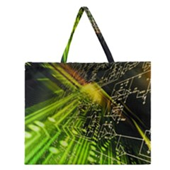 Electronics Machine Technology Circuit Electronic Computer Technics Detail Psychedelic Abstract Pattern Zipper Large Tote Bag