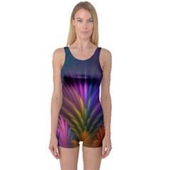 Colored Rays Symmetry Feather Art One Piece Boyleg Swimsuit