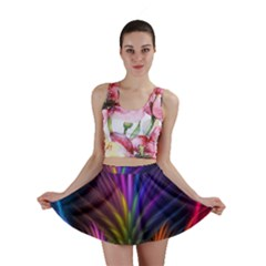 Colored Rays Symmetry Feather Art Mini Skirt