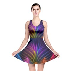 Colored Rays Symmetry Feather Art Reversible Skater Dress