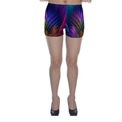 Colored Rays Symmetry Feather Art Skinny Shorts