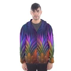 Colored Rays Symmetry Feather Art Hooded Wind Breaker (Men)