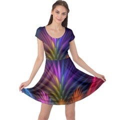 Colored Rays Symmetry Feather Art Cap Sleeve Dresses