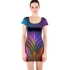 Colored Rays Symmetry Feather Art Short Sleeve Bodycon Dress