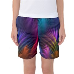 Colored Rays Symmetry Feather Art Women s Basketball Shorts