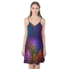 Colored Rays Symmetry Feather Art Camis Nightgown