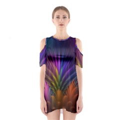Colored Rays Symmetry Feather Art Shoulder Cutout One Piece