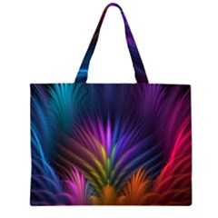 Colored Rays Symmetry Feather Art Large Tote Bag