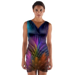 Colored Rays Symmetry Feather Art Wrap Front Bodycon Dress