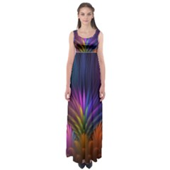 Colored Rays Symmetry Feather Art Empire Waist Maxi Dress
