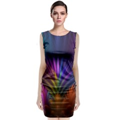 Colored Rays Symmetry Feather Art Classic Sleeveless Midi Dress