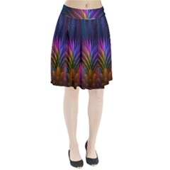 Colored Rays Symmetry Feather Art Pleated Skirt