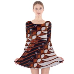 Traditional Batik Sarong Long Sleeve Velvet Skater Dress