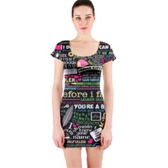 Book Collage For Before I Fall Short Sleeve Bodycon Dress