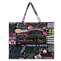 Book Collage For Before I Fall Zipper Large Tote Bag
