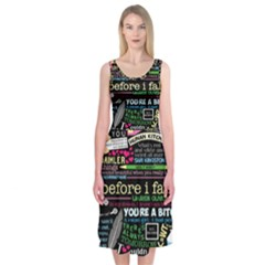 Book Collage For Before I Fall Midi Sleeveless Dress